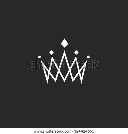 Crown logo design element, linear monogram abstract symbol, overlapping thin lines royal icon, template hotel emblem