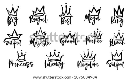 Crown logo graffiti icon. Queen, king, royal, princess, prince, super, grand, best, kingdom, magestic, mega text. Black elements isolated on white background. Vector illustration.