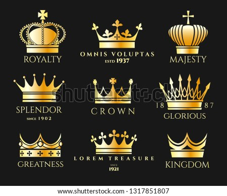 Crown logo set. Luxury crowns logos, queen and king heraldic imperial vector emblems