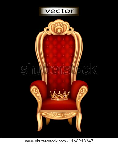 crown of gold on the throne of