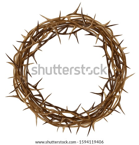Crown of thorns. Color, artistic, graphic drawing of a crown of thorns with thorns on a white background. Stockfoto ©