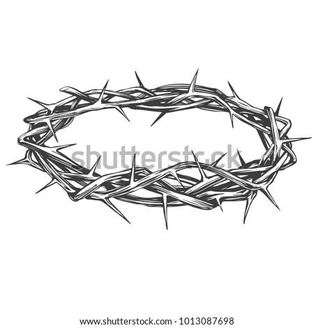 crown of thorns, easter religious symbol of Christianity hand drawn vector illustration sketch logo Stockfoto ©