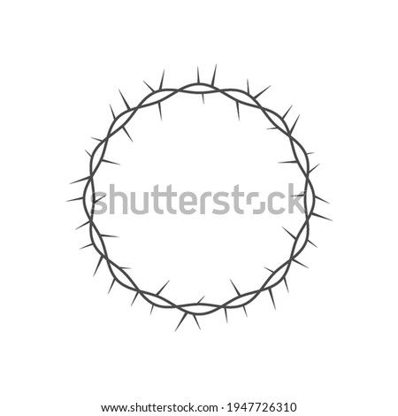 Crown of thorns icon. Crown of thorns round frame. The crown of thorns of Jesus Christ. Christian symbol. Vector illustration isolated on white. Foto stock ©