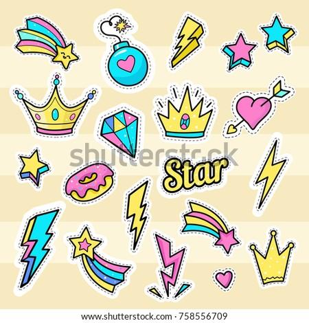 crown  star  lightning patch