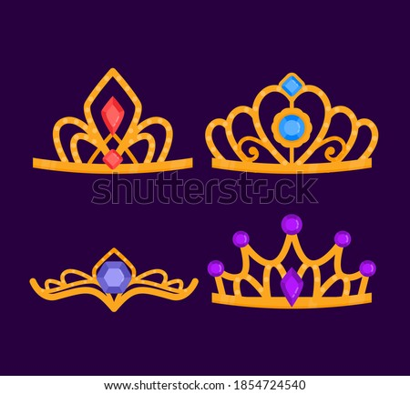 Crown vector, Crowns, Tiara. Golden or silver tiaras crown, corona, coronet, diadem, coronal crowns gemstones. crowns royal queen king princess prince crowns monarchical crown kingdom crown symbol. Сток-фото ©