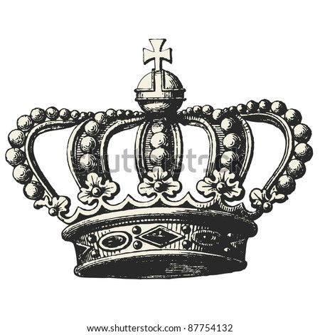 "Crown - Vintage engraved illustration - ""Les Français"" by L.Curmer in 1842 France"