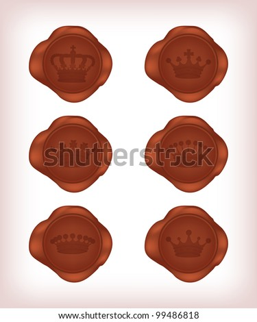Crown wax seal, vector, 10eps.