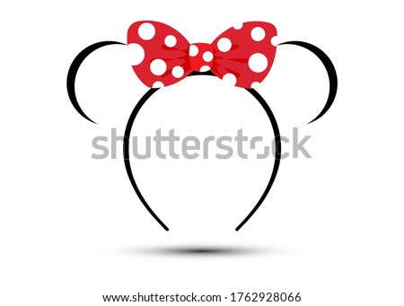 crown with red polka dot bow, vector isolated on white background