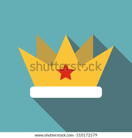 crown with star icon flat