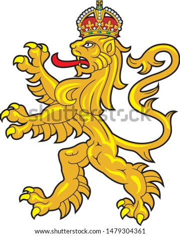 crowned gold heraldic lion