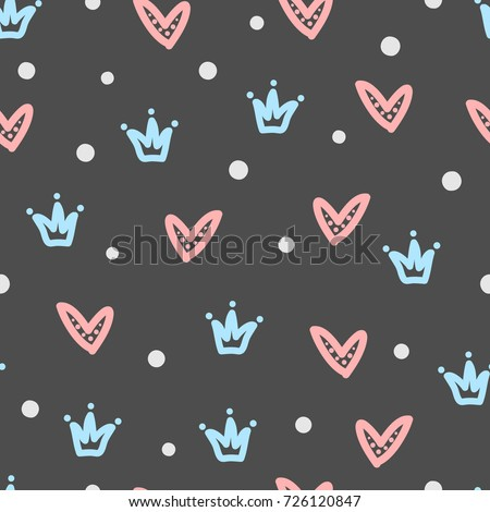 crowns  hearts  round dots