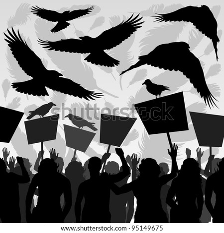 Crows flying over protesters crowd landscape background illustration vector