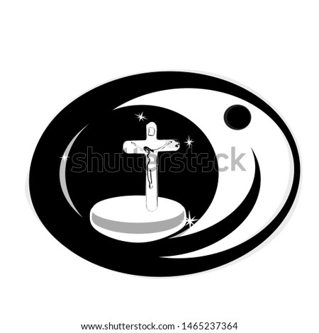 crucified Jesus Christ, Black eye frame, white  background, Vision, eyes