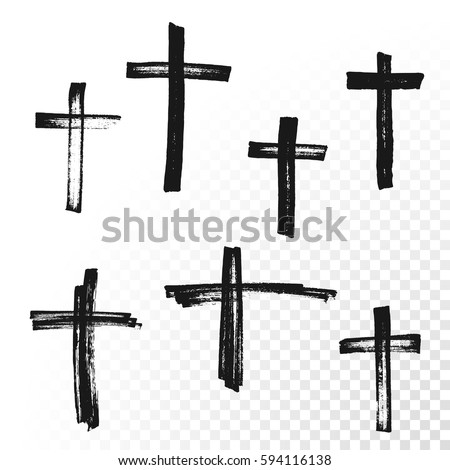 crucifix cross hand drawn paint