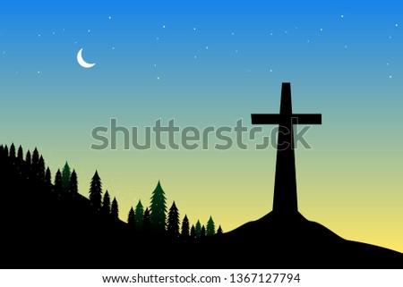 crucifix silhouette of a