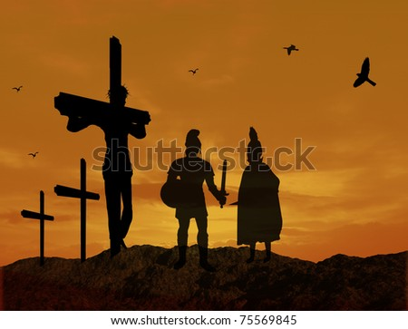 Crucifixion of Jesus Christ with warriors silhouette  during sunset