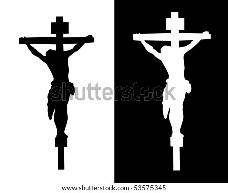 Crucifixion silhouette on a white and black background