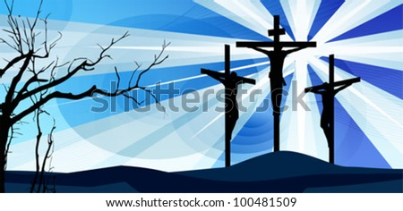 Crucifixion. Silhouettes of the three crosses and praying man. Vector illustration scale to any size. All elements and textures are individual objects. Eps 10