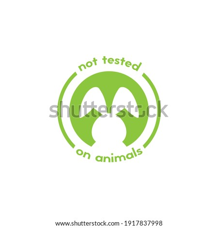 Cruelty free label. Not tested on animals stamp. No animal testing seal. Logo design with bunny. Vector illustration isolated on white. Foto stock ©