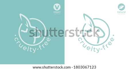 Cruelty-free rabbit icon. Animal rights protection sign. Bunny care symbol. Not tested on animals product stamp emblem. Vector illustration. Foto stock ©
