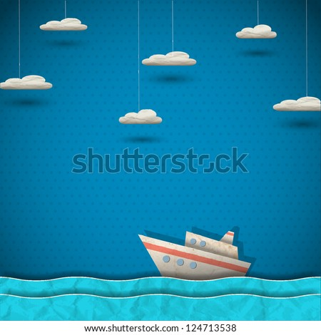 cruise liner and clouds vector