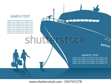 Cruise ship background vector illustration