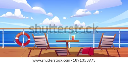 Cruise ship deck with sun loungers, wooden table with cocktail and lifebuoy hang on fencing. Empty modern luxury sailboat in sea or ocean. Passenger vessel, liner cruising, Cartoon vector illustration Imagine de stoc ©