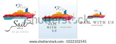 Cruise ship design in vector style. Colorful and modern design with title