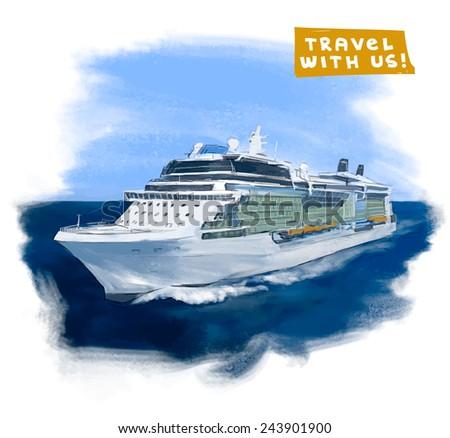 cruise ship hand drawn vector...