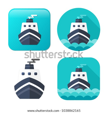 cruise ship icon - vector boat - sea travel icon