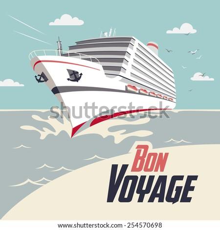 Cruise ship illustration with Bon Voyage headline