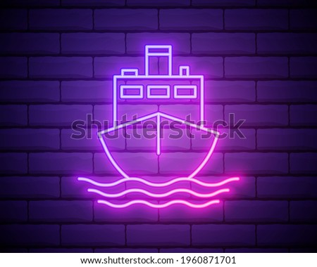 cruise ship liner neon icon. Elements of turizm set. Simple icon for websites, web design, mobile app, info graphics isolated on brick wall. Stok fotoğraf ©