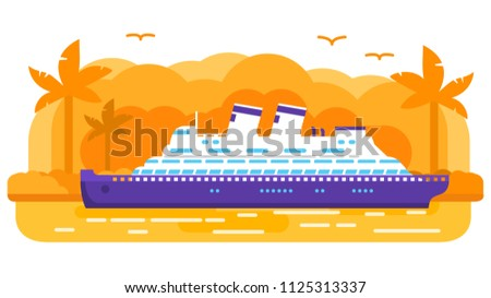 Cruise ship old retro.Summer marine travel .Passenger ocean liner, Tropical island of a palm tree sunset. Sea voyage.Flat vector. Banner concept.