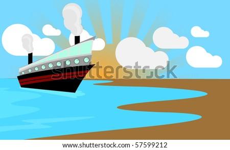 Cruise ship porting at sunset