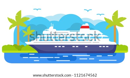 Cruise ship.Summer marine travel .Passenger ocean liner, Tropical island of a palm tree. Sea voyage.Flat vector. Banner concept.