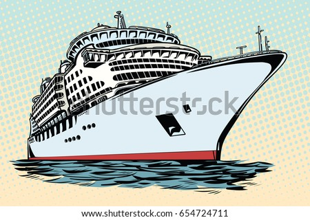 cruise ship vacation sea travel. Water transport. Pop art retro vector illustration