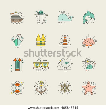 cruise vacation icons made in
