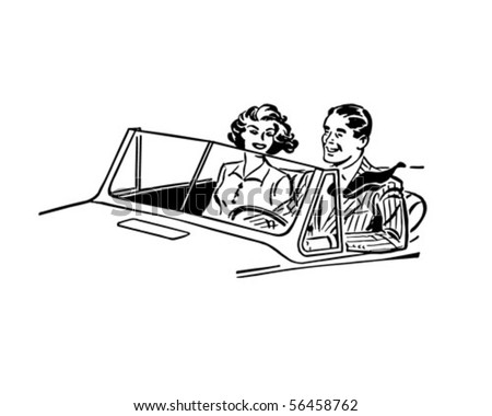 cruisin' couple   retro clip art