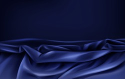 Crumpled and wavy, luxury blue or dark violet silk or satin fabric with wrinkles 3d realistic vector abstract background, copyspace. Gorgeous velvet texture, silky textile, elegant tissue illustration