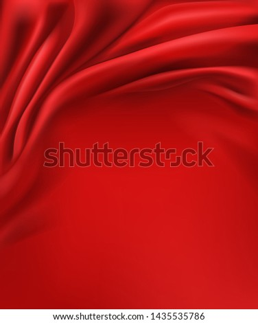 Crumpled and wavy, luxury red silk or satin fabric with smooth surface area 3d realistic vector abstract background with copy space. Delicate velvet texture, silky textile, elegant tissue illustration