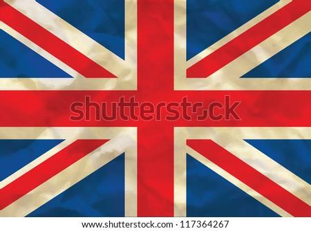Crumpled flag of UK, Great Britain