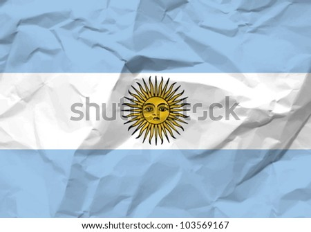 Crumpled paper Argentina flag textured background. Vector illustration.