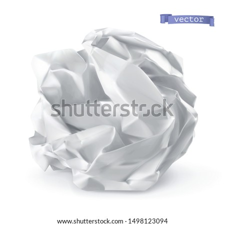 Crumpled paper ball. 3d realistic vector icon