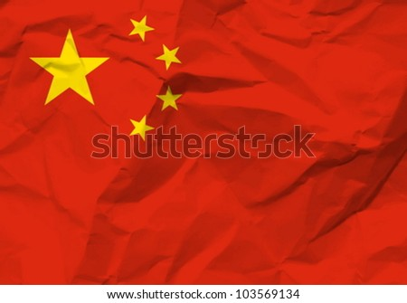 Crumpled paper China flag textured background. Vector illustration.