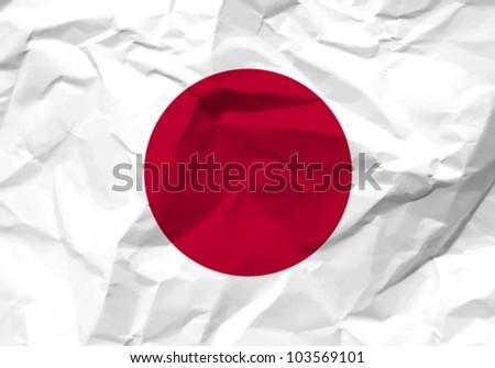 Crumpled paper Japan flag textured background. Vector illustration.