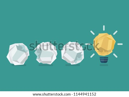 Crumpled paper light bulb with crumpled paper balls. Vector illustration