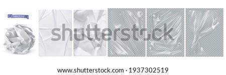 Crumpled paper, white paper, transparent plastic film. 3d realistic vector texture Stock foto ©