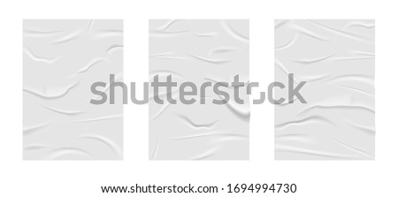 Crumpled poster, glued realistic paper wrinkled effect. Badly wet glued paper with crumpled and greased wrinkles texture, isolated blank templates set, badly glued white paper - stock vector
