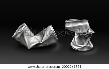 Crumpled tin can, crushed metal bottles with open key. Crumple trash, used empty containers for beverages, Realistic 3d vector silver colored aluminium canister for drinks isolated on black background Stock foto ©