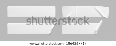 Crumpled white rectangle sticker label set isolated. Blank glued adhesive paper or plastic sticker with wrinkled effect and curled corners. Label tags template for door or wall. 3d realistic vector Stockfoto ©